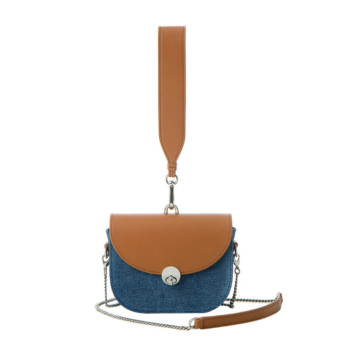 MINI SADDLE BAG, Denim Brown