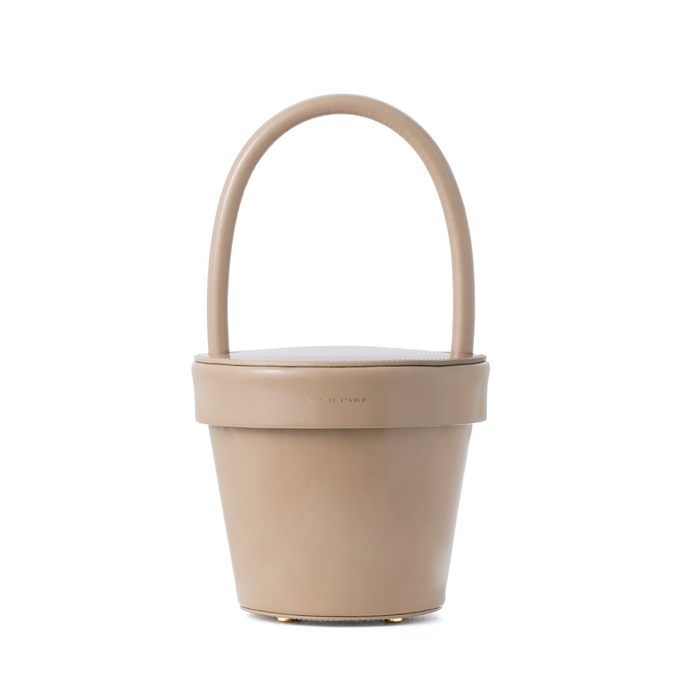POT BAG, Patent Beige