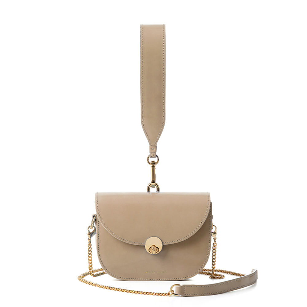 MINI SADDLE BAG, Patent beige