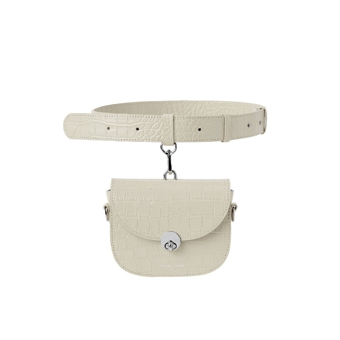 MINI SADDLE BAG, Croco Beige