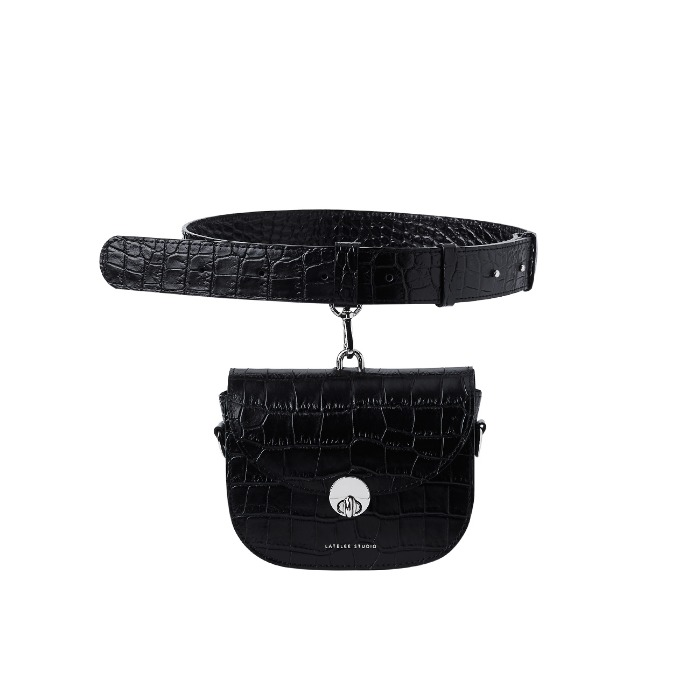 MINI SADDLE BAG, Croco Black