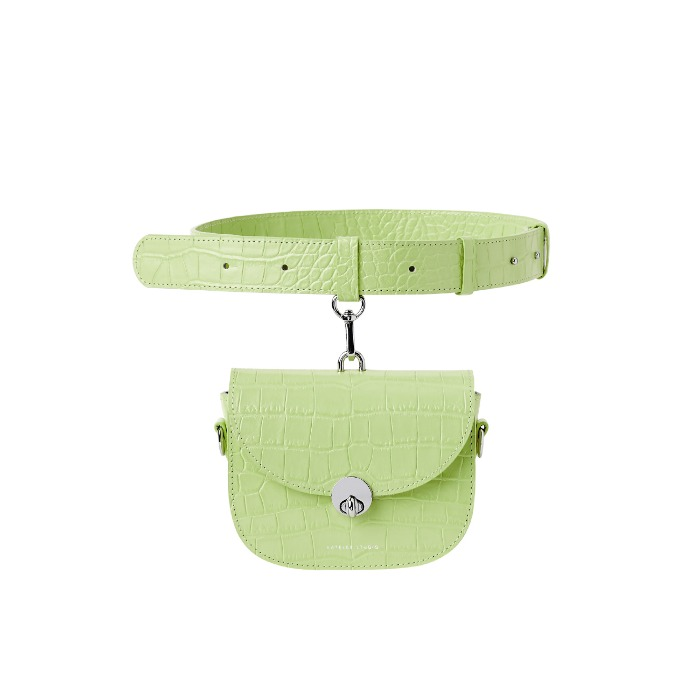 MINI SADDLE BAG, Croco Green