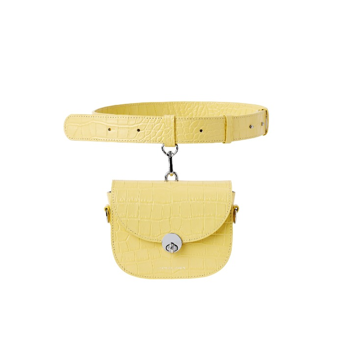 MINI SADDLE BAG, Croco Lemon