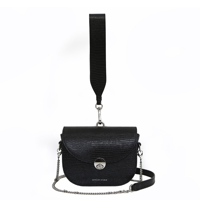 MINI SADDLE BAG, Lizard Black