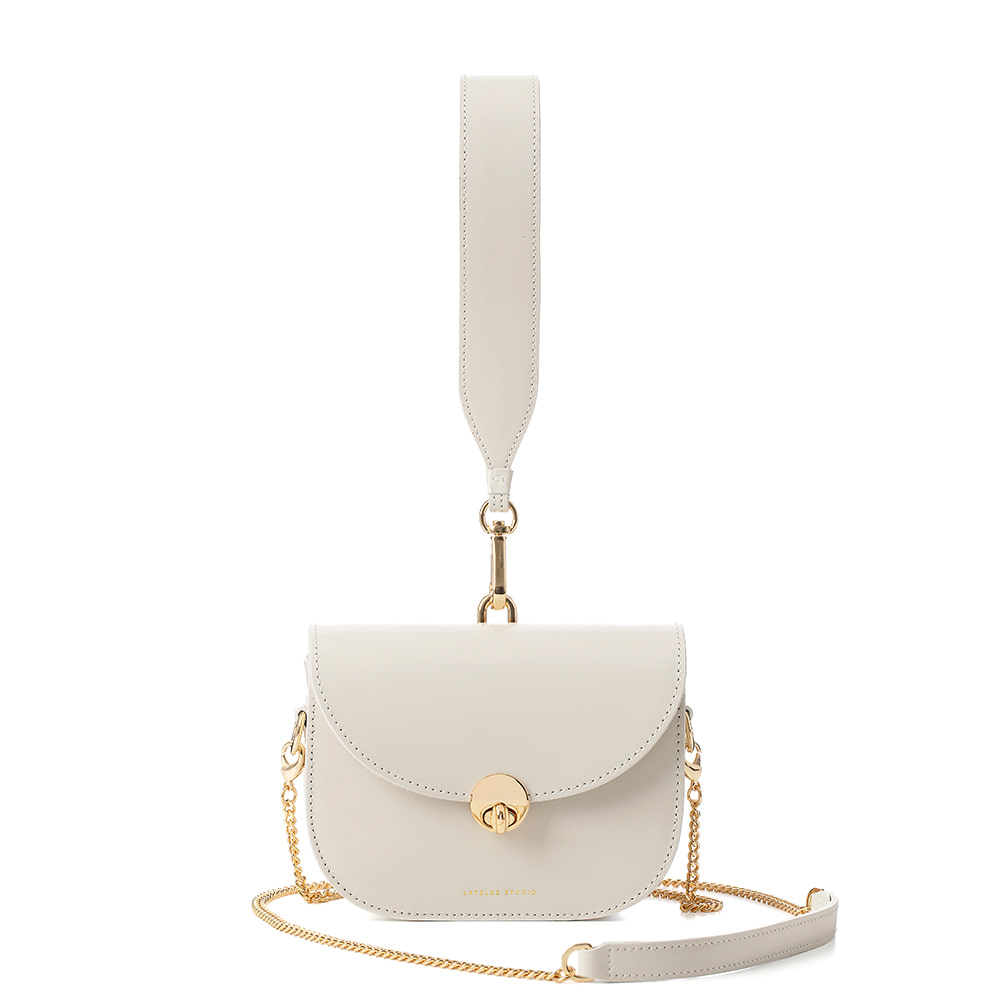 MINI SADDLE BAG, Glossy White