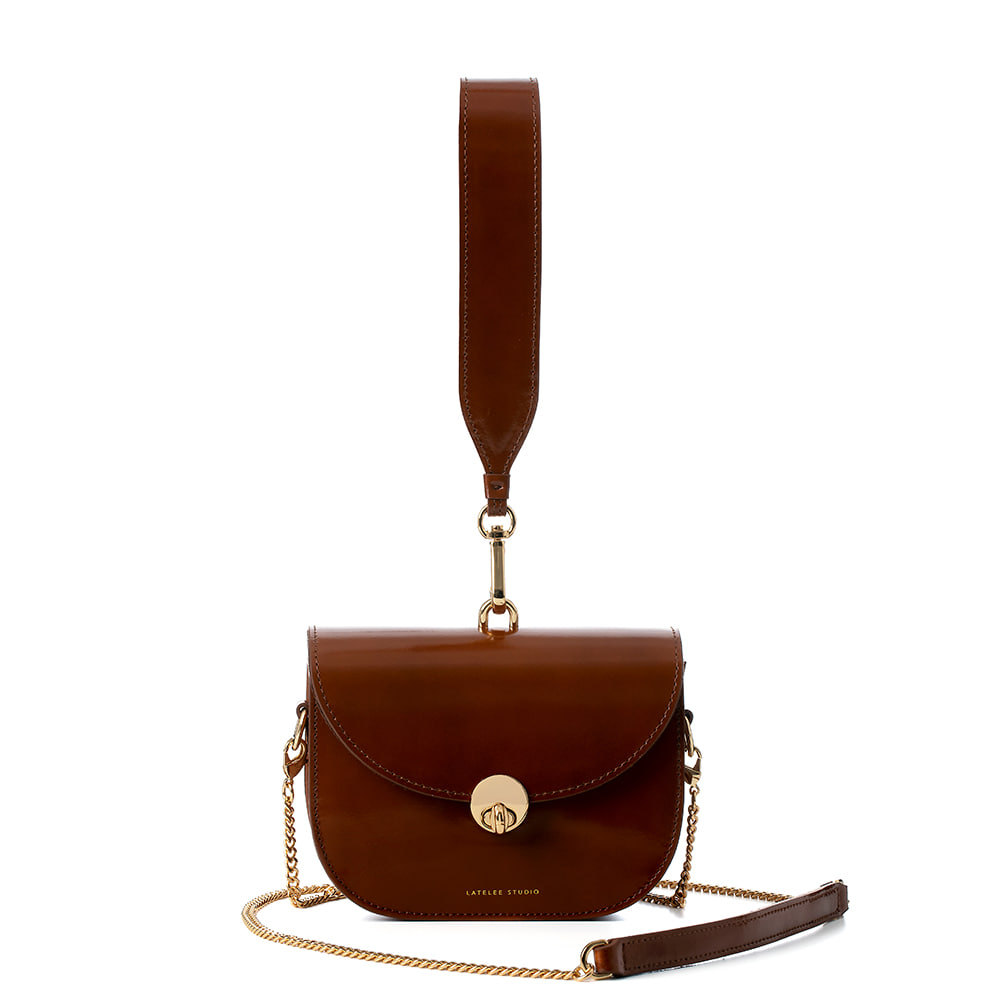 MINI SADDLE BAG, Glossy Brown