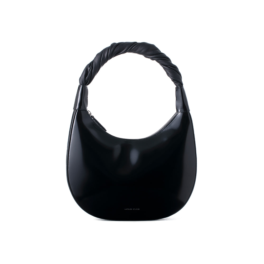 PRETZEL BAG, Patent Black